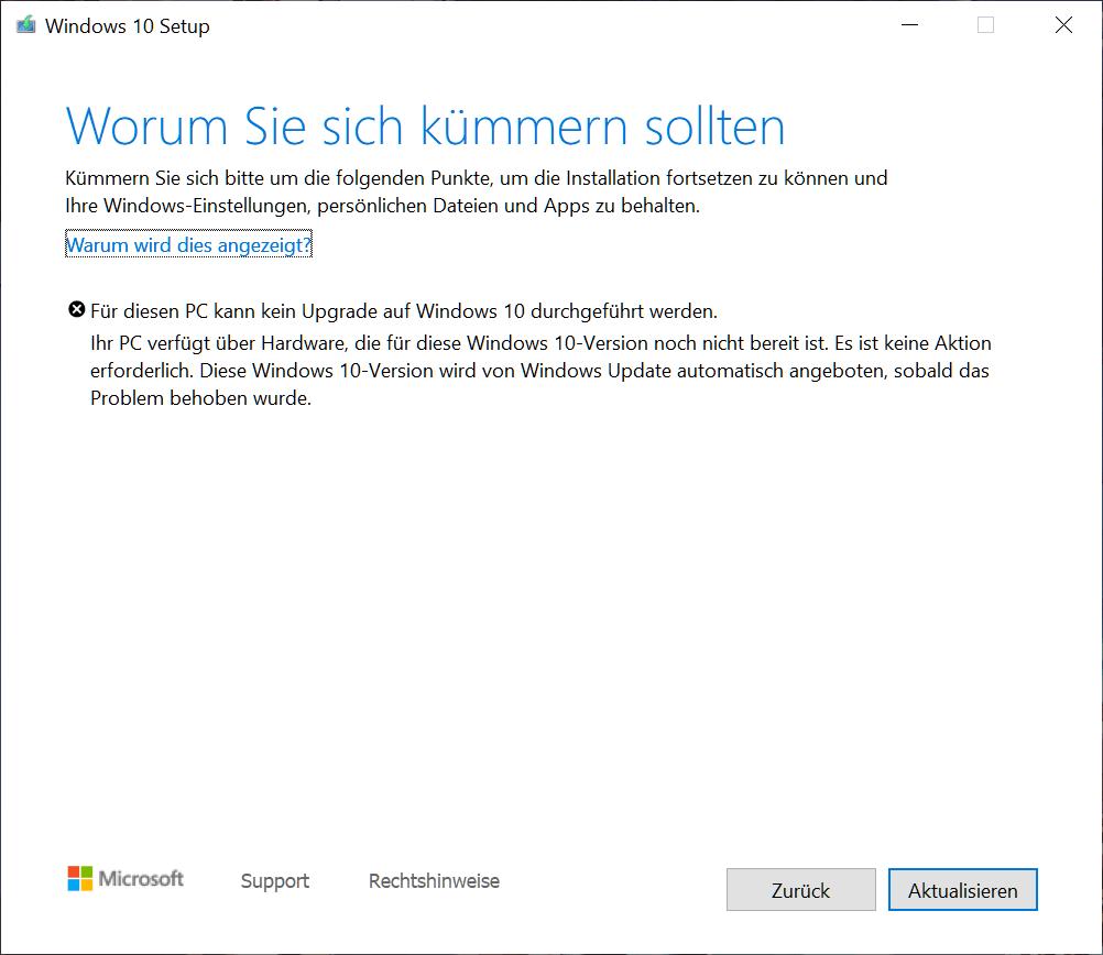 Stoppt das Update, siehst du folgende Fehlermeldung